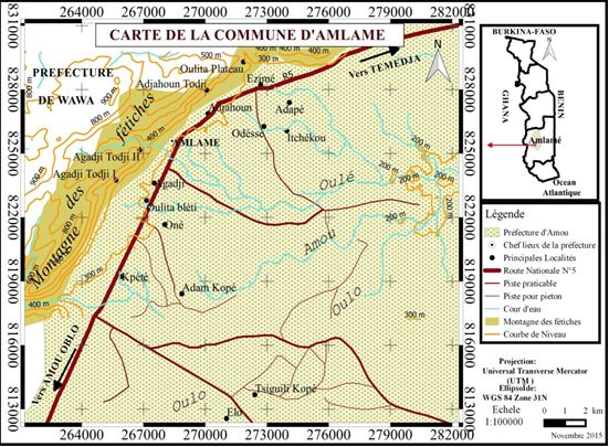 Carte de la commune d'Amlame, Source : JVE, 2015